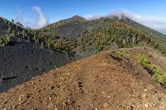 La palma ruta de los vulcanos火山口外缘 免版税库存图片