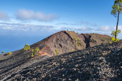 La palma ruta de los vulcanos火山口 免版税图库摄影