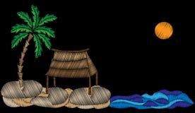 La palmera con bordado exótico de la casa, del agua y del sol cose i libre illustration