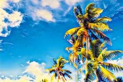 La palmera de los Cocos con verde se va en el cielo azul Ejemplo digital vivo de las vacaciones tropicales de la isla fotografía de archivo libre de regalías