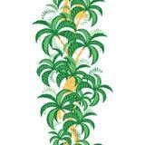 La palmera sale de la plantilla del fondo Tarjeta de felicitación tropical Frontera vertical del verano Foto de archivo