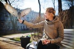 La paloma con las alas abiertas se sienta en la mano de la muchacha Imagenes de archivo