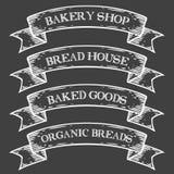 La panadería cuece la cinta del emblema del mercado de la tienda Grabado medieval monocromático del vintage del sistema Imágenes de archivo libres de regalías