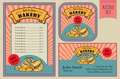 La panadería del vector del vintage etiqueta la colección Imágenes de archivo libres de regalías