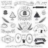 La panadería del vintage etiqueta el sistema de elemento Mano bosquejada stock de ilustración