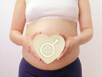 La pancia della donna incinta con cuore Immagini Stock