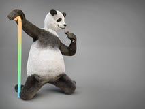 La panda animal del oso del carácter del personaje canta el micrófono de la canción Fotos de archivo libres de regalías