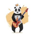 La panda con una corona toca la guitarra ilustración del vector