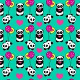 La panda dibujada mano linda con los corazones y los globos diseñan vector repetido del modelo Foto de archivo