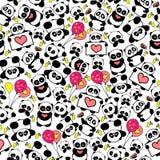 La panda dibujada mano linda con los corazones y los globos diseñan vector repetido del modelo Imagen de archivo libre de regalías