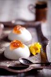 La panna cotta cremosa bianca del dessert con è aumentato Fotografia Stock