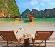 La panoramica eccellente della spiaggia Fotografie Stock