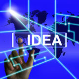 La pantalla de la idea significa pensamiento o ideas mundial del concepto Fotos de archivo