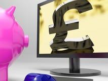 La pantalla de la libra muestra a Sterling Money Financing Profit Imágenes de archivo libres de regalías