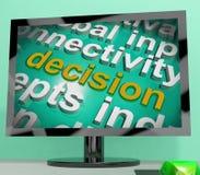 La pantalla de la nube de la palabra de la decisión muestra la opción o decide Foto de archivo libre de regalías