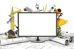 La pantalla de la PC con el objeto para la construcción Foto de archivo libre de regalías