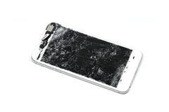La pantalla del teléfono móvil es agrietada Foto de archivo