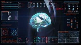 La pantalla digital conmovedora del hombre de negocios, cerebro bajo del polígono conecta líneas digitales en tablero de instrume ilustración del vector