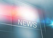 La pantalla plana grande de la TV con noticias manda un SMS a series del concepto Fotografía de archivo libre de regalías