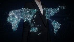 La pantalla táctil de la empresaria, diverso icono de la tecnología de la atención sanitaria conecta el mapa del mundo global, pu ilustración del vector