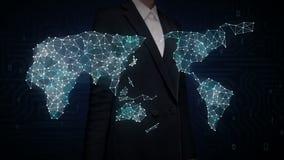 La pantalla táctil de la empresaria, tecnología de IoT conecta el mapa del mundo global los puntos hacen el mapa del mundo, Inter ilustración del vector