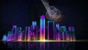La pantalla táctil de la empresaria, horizonte de la ciudad del edificio de la construcción y hace la ciudad en la animación fest stock de ilustración