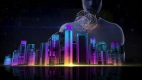 La pantalla táctil de la empresaria, líneas de Digitaces crea la forma del bulbo de la idea, concepto digital tecnología de la in ilustración del vector