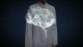 La pantalla táctil del doctor de sexo femenino, cerebro conecta las líneas digitales, ampliando la inteligencia artificial ilustración del vector