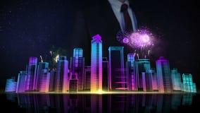 La pantalla táctil del hombre de negocios, horizonte de la ciudad del edificio de la construcción y hace la ciudad en la animació ilustración del vector