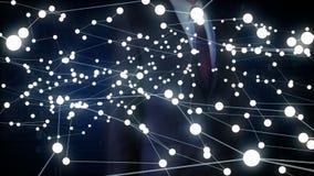 La pantalla táctil del hombre de negocios, tecnología de IoT conecta el mapa del mundo global los puntos hacen el mapa del mundo, stock de ilustración