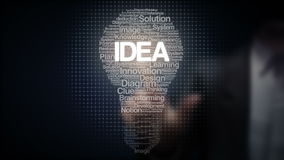 La pantalla táctil del hombre de negocios y los textos numerosos hace la luz de bulbo, mostrando el texto 'IDEA'