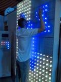 la pantalla táctil muy grande llevó el panel en el ecolighttech Asia 2014 Fotografía de archivo libre de regalías