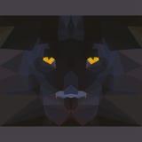 La pantera negra salvaje mira fijamente adelante Ejemplo poligonal geométrico abstracto Fotos de archivo libres de regalías