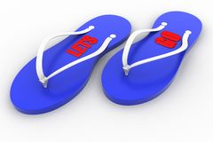 la pantofola 3d con ha lasciato andare il testo Immagini Stock