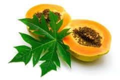 La papaia ed il foglio hanno isolato Immagini Stock Libere da Diritti