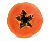 La papaye ont la belle chair rose saumonée profonde photographie stock libre de droits