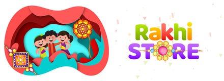 La papiroflexia del corte del papel diseña diseño del jefe o de la bandera de Rakhi Store con libre illustration