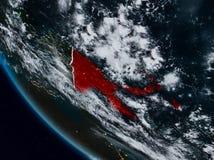 La Papouasie-Nouvelle-Guinée la nuit de l'espace Illustration de Vecteur