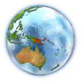 La Papouasie-Nouvelle-Guinée sur le globe d'isolement illustration stock