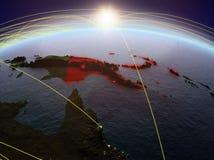 La Papouasie-Nouvelle-Guinée sur terre avec des réseaux illustration de vecteur