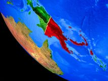 La Papouasie-Nouvelle-Guinée sur terre de l'espace illustration stock