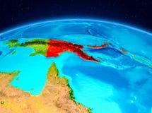 La Papuasia Nuova Guinea dall'orbita Immagini Stock Libere da Diritti