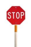 La parada aislada firma con el poste del cigarrillo Imágenes de archivo libres de regalías