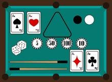 La parafernalia del juego de billares y del póker Foto de archivo