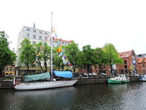 La parata delle navi celebra in Klaipeda, Lituania immagine stock libera da diritti