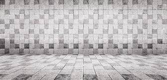 La pared blanca y el piso de la teja concreta del estilo del vintage del Grunge texturizan el fondo Imagen de archivo