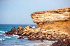 La Pared coast on Fuerteventura island. Sand coast near La Pared village on the south western part of Fuerteventura island Royalty Free Stock Image