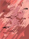 La pared con los pescados del petroglifo stock de ilustración