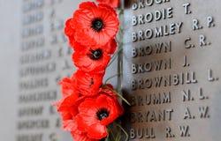 La pared de la amapola enumera los nombres de todos los australianos que murieron en el servicio de ejércitos Fotos de archivo