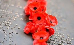 La pared de la amapola enumera los nombres de todos los australianos que murieron en el servicio de ejércitos Fotografía de archivo libre de regalías